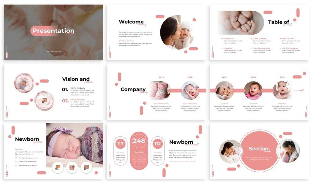 新生婴儿商店品牌策划提案业务演示幻灯片模板下载Newborn Babyshop Powerpoint Template插图(1)