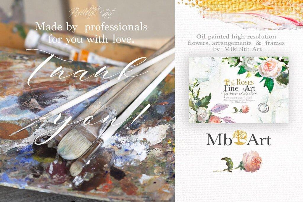 油画装饰图案婚礼邀请函装饰图案下载Oil painted Fine Art roses collection插图(1)