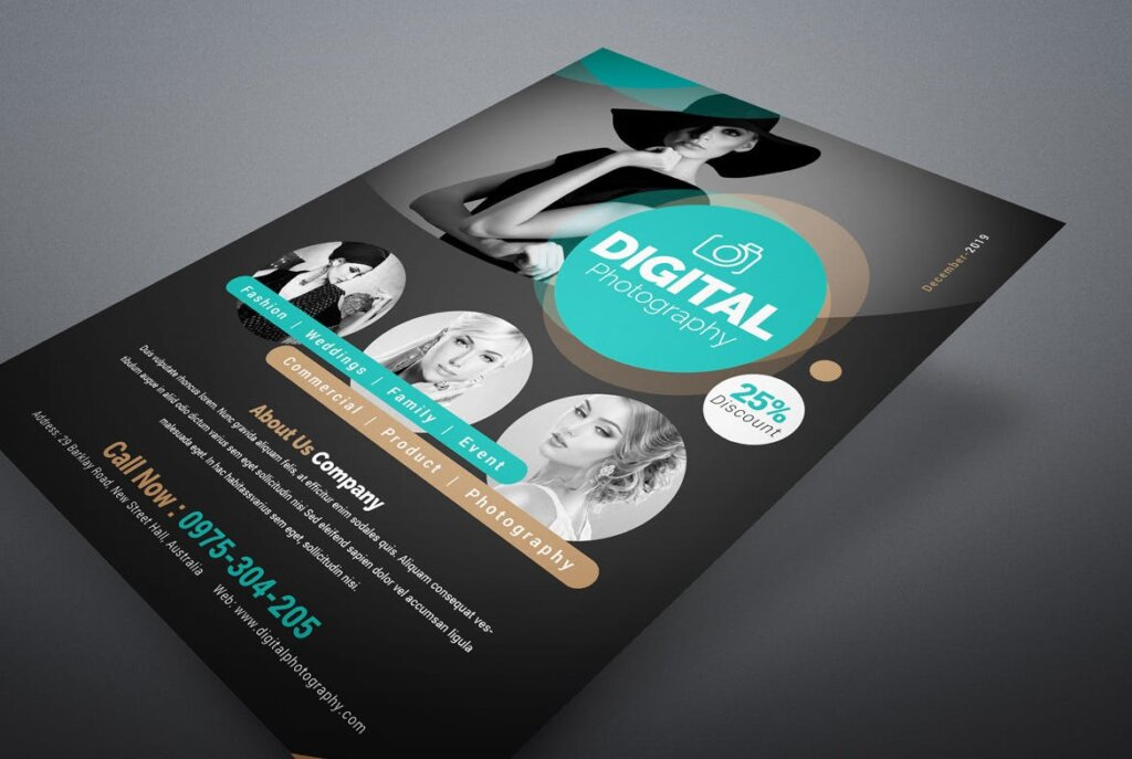 摄影主题活动派对传单海报模板素材Photography Flyer QVXVBW插图(1)
