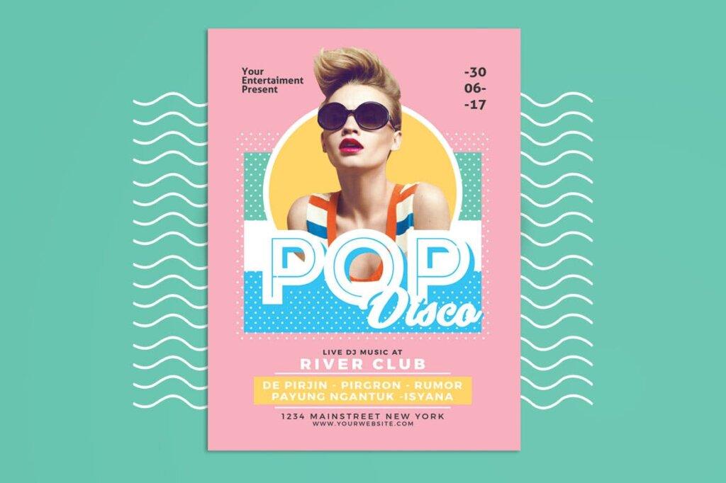 简约马卡龙配色pop广告海报传单模板素材下载Pop Disco Flyer插图(1)