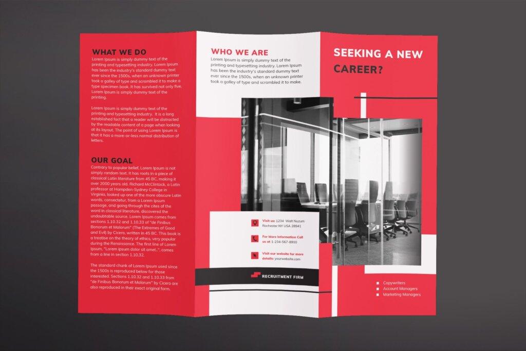 红色企业商务产品商务折页传单模板素材下载Recruitment Firm Brochure Trifold插图(1)