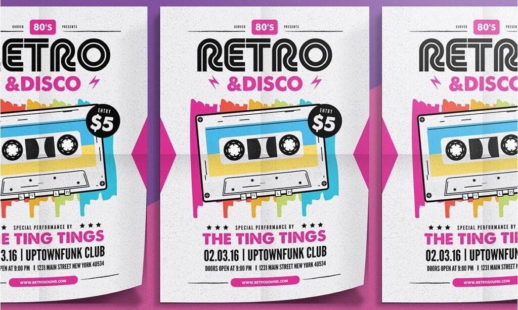 复古迪斯科摇滚音乐传单海报模板素材下载Retro Disco Flyer插图(1)