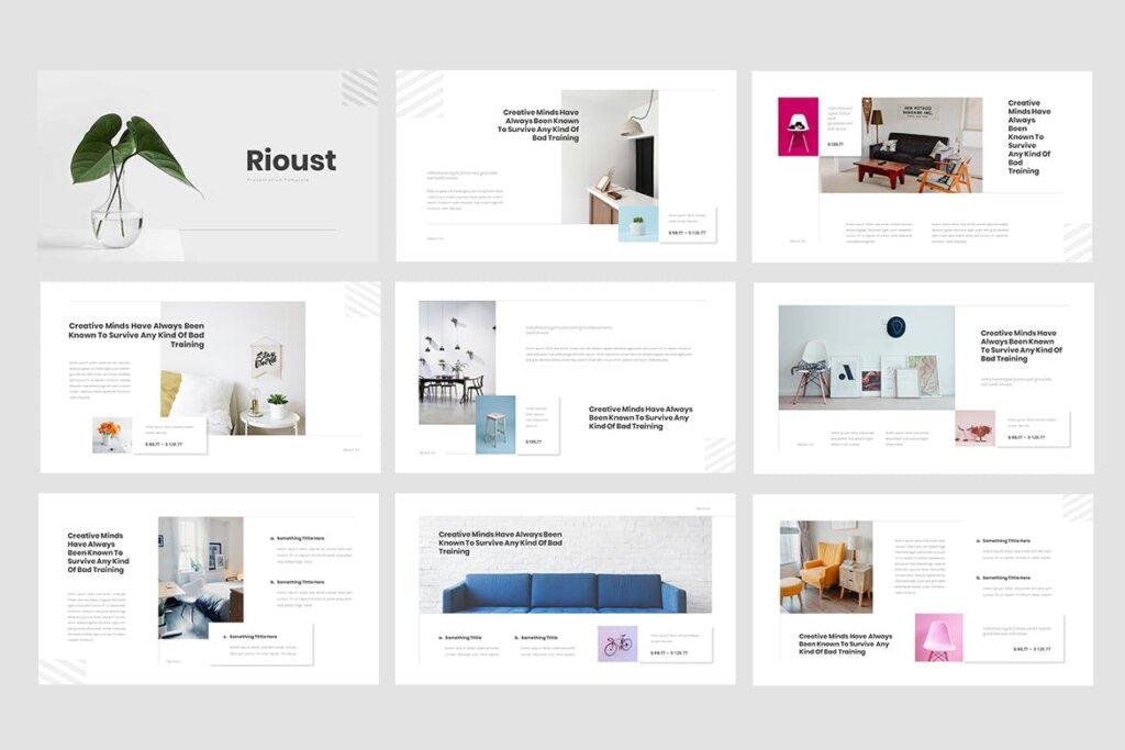 企业商务投资汇报市场销售数据PPT幻灯片模版下载Rioust Interior Design Powerpoint Template插图(1)