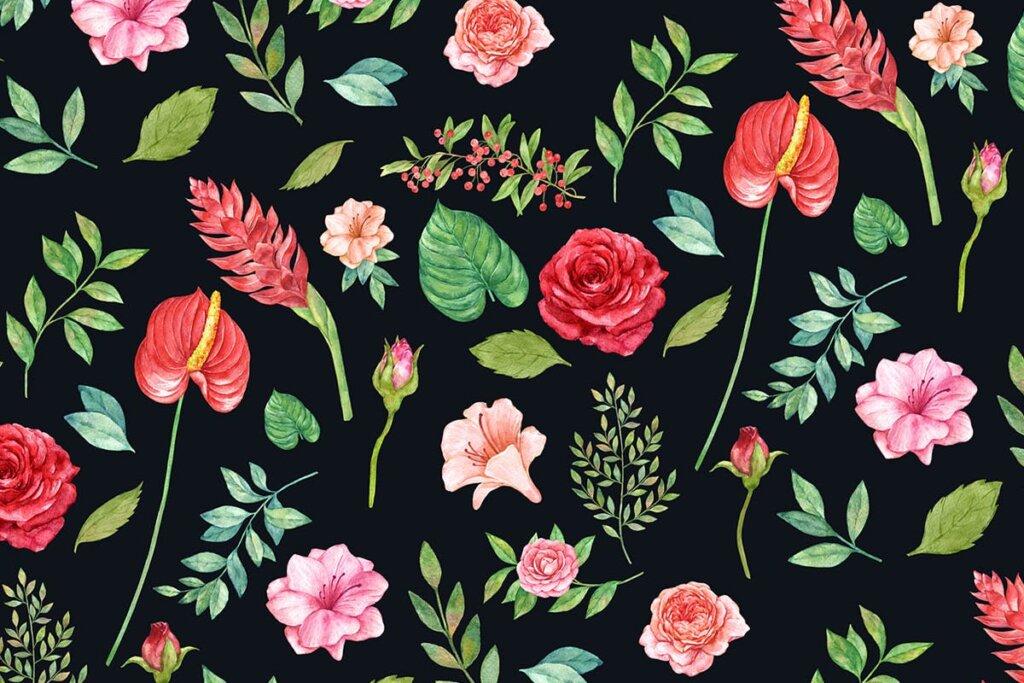 婚礼装饰图案纹理素材模版下载Scarlet Rose Seamless Patterns插图(1)