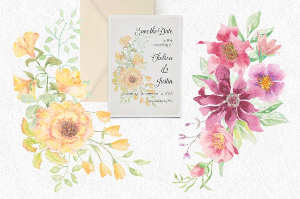 婚礼邀请函装饰图案纹理/电视背景墙装饰图案纹理素材Set of 8 Watercolor Clip Art Sprays I插图(1)