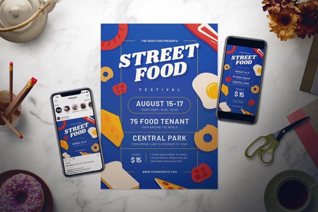 街头美食节宣传单海报模板素材下载Street Food Festival Flyer Set插图(1)
