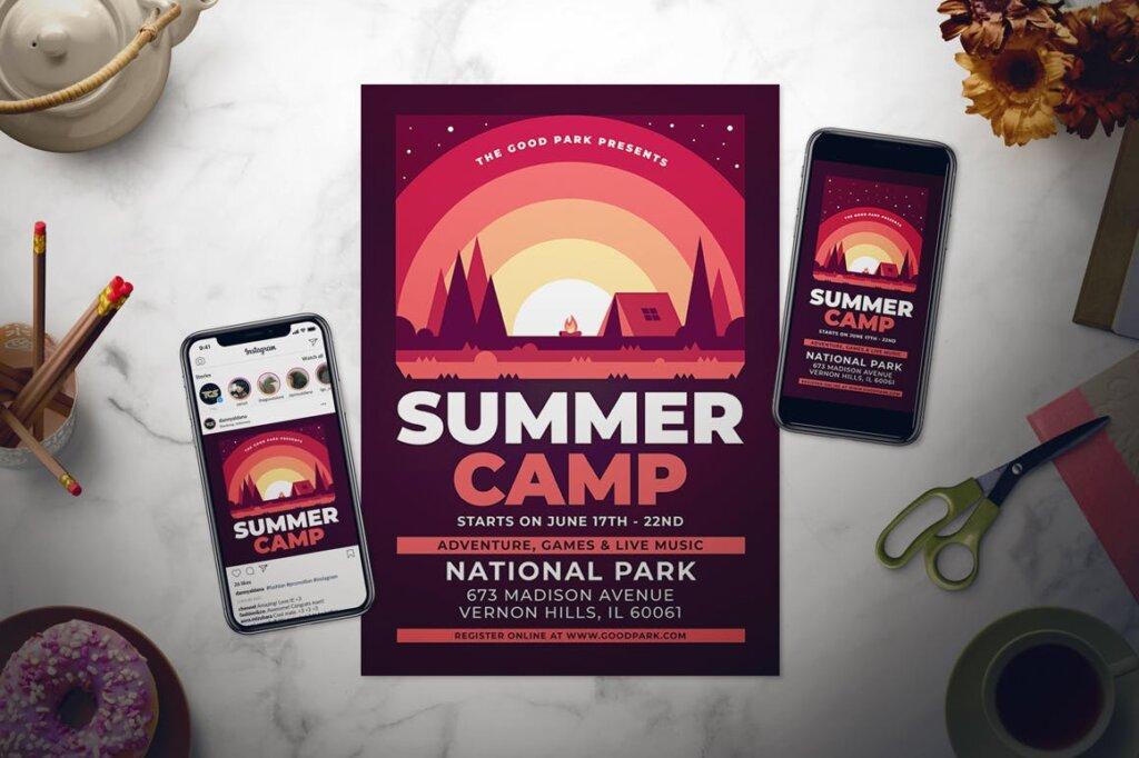 夏令营海报宣传单素材模板Summer Camp Flyer Set GZVSED5插图(1)