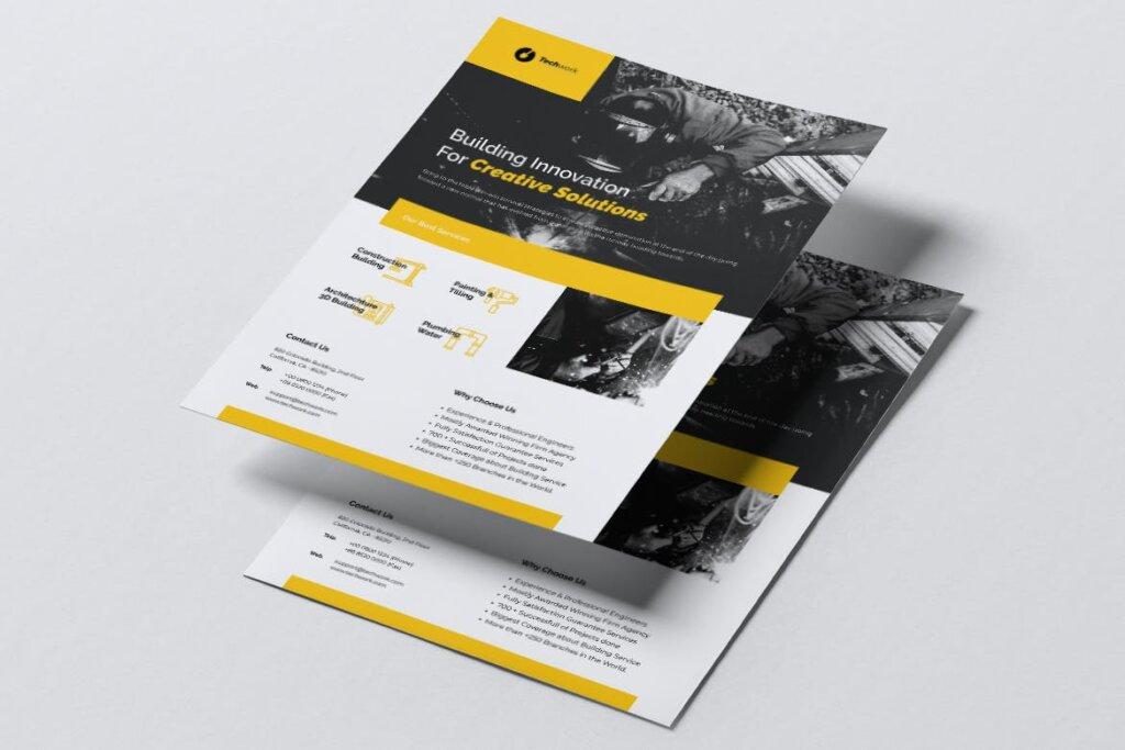 技术工作建设传单名片模板素材下载TECHWORK Construction Flyer Business Card插图(1)