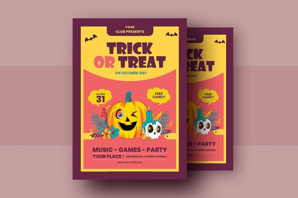 2.5D插画风格万圣节糖果节传单海报模板Trick Or Treat Halloween Candy Festival Flyer插图(1)