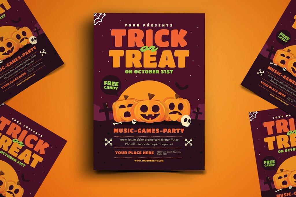 卡通南瓜主题万圣节宣传互动派对传单模版素材下载Trick or Treat Halloween Event Flyer插图(1)