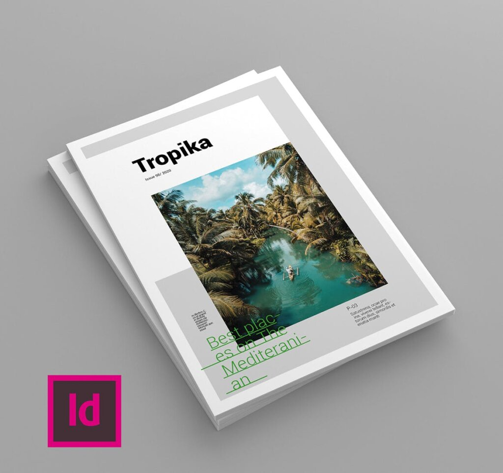 简约大气旅游杂志传单海报模板素材下载Tropika Magazine Template插图(1)