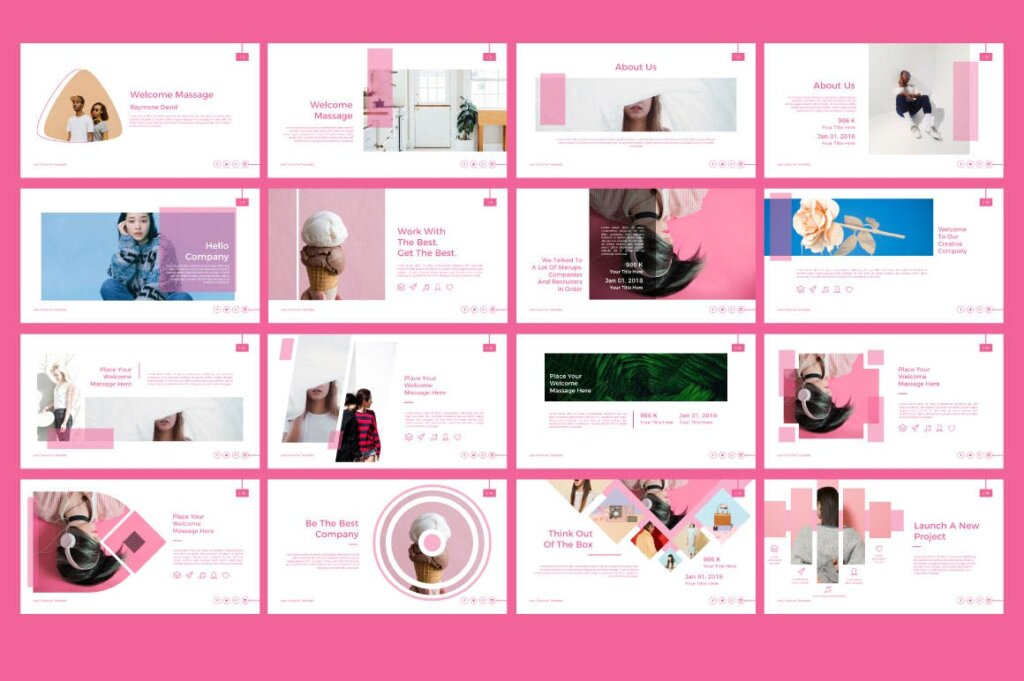 粉色女性时尚行业调研报告幻灯片PPT模版Vale Creative Keynote插图(1)