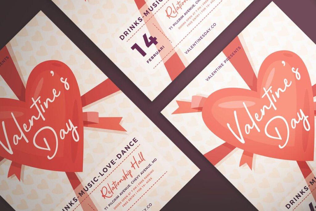 情人节派对/情人节节日海报传单模版素材下载Valentine's Day Flyer Vol. 01插图(1)