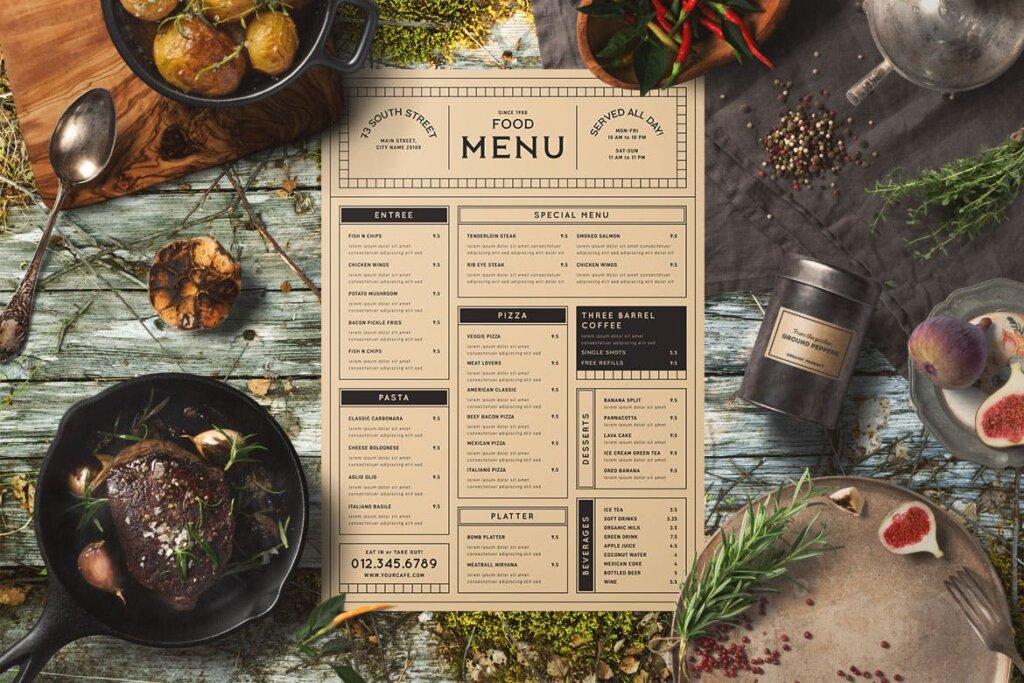 高端餐厅美食菜单模板素材下载Vintage Food Menu 56DZKS插图(1)