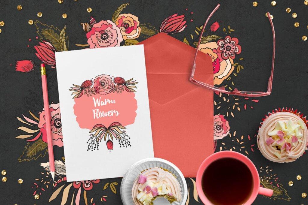 时尚服装品牌装饰图案纹理素材Warm Flowers CN55XA插图(1)