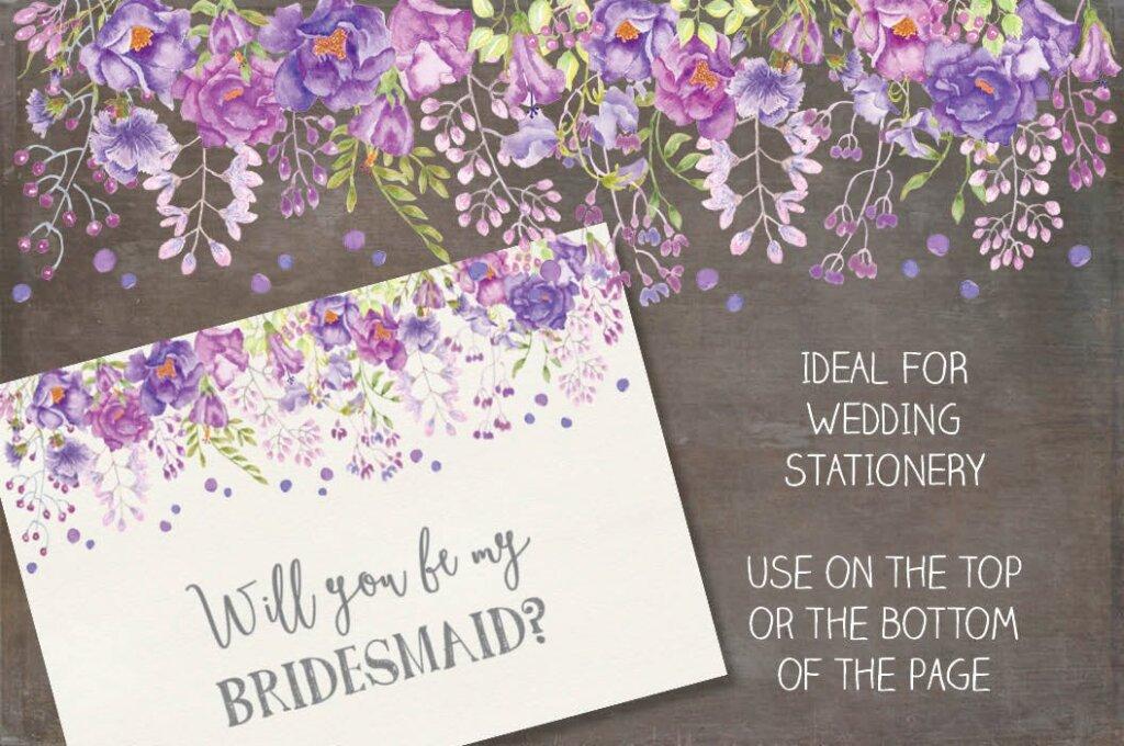 淡紫色和紫罗兰花手绘水彩画花卉装饰图案纹理素材Watercolor Border in Mixed Purple Blooms插图(1)