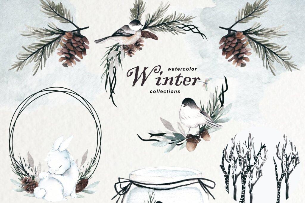 冬天水彩水墨中国风品牌装饰图案素材下载Winter Watercolor Collection插图(1)