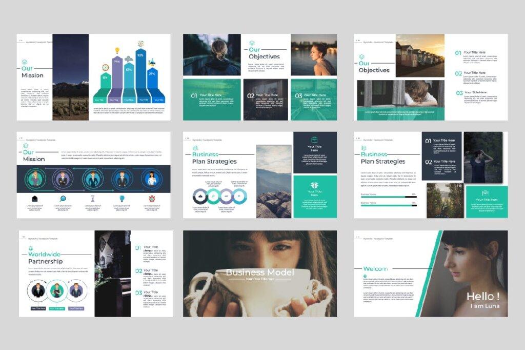 绿色环保主题概念设计稿幻灯片模板素材Wynstelle Powerpoint Template插图(1)