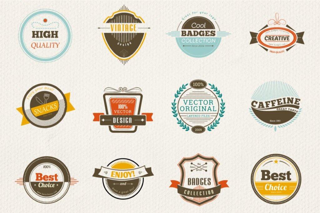 12个精致徽章装饰图案纹理素材下载12 Retro and Vintage Badges插图(2)