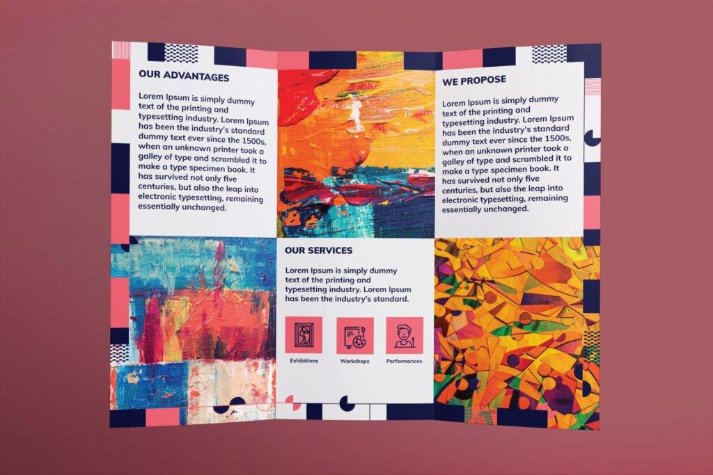 黑红折页艺术发布会传单海报模板素材下载Art Gallery Brochure Trifold插图(2)