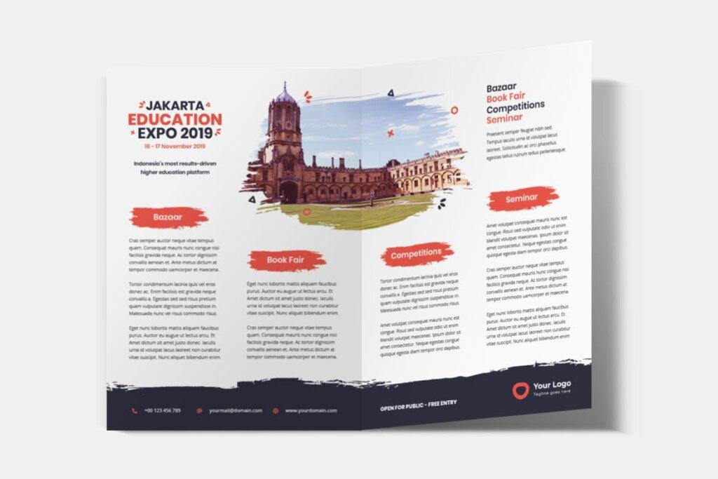 企业商务小册子/双折页小册子模板活动传单Bifold Brochure Template Education Flyer插图(2)