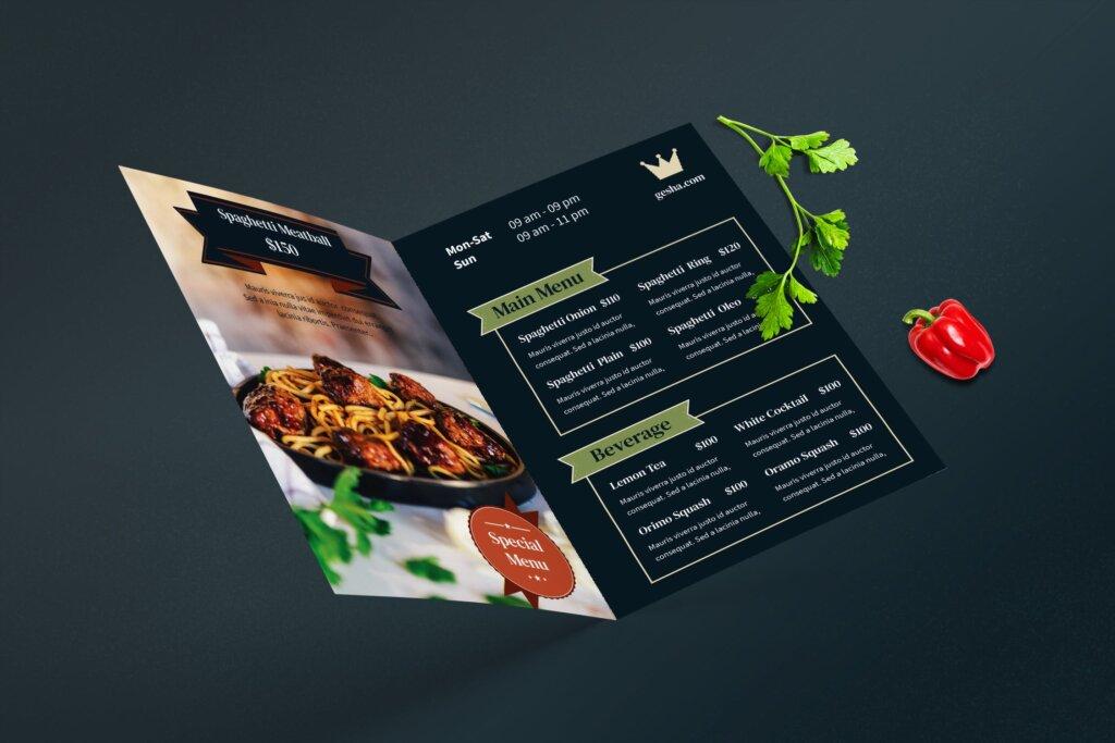 餐厅菜单酒店菜单折页模版素材下载ERV2F4M插图(2)