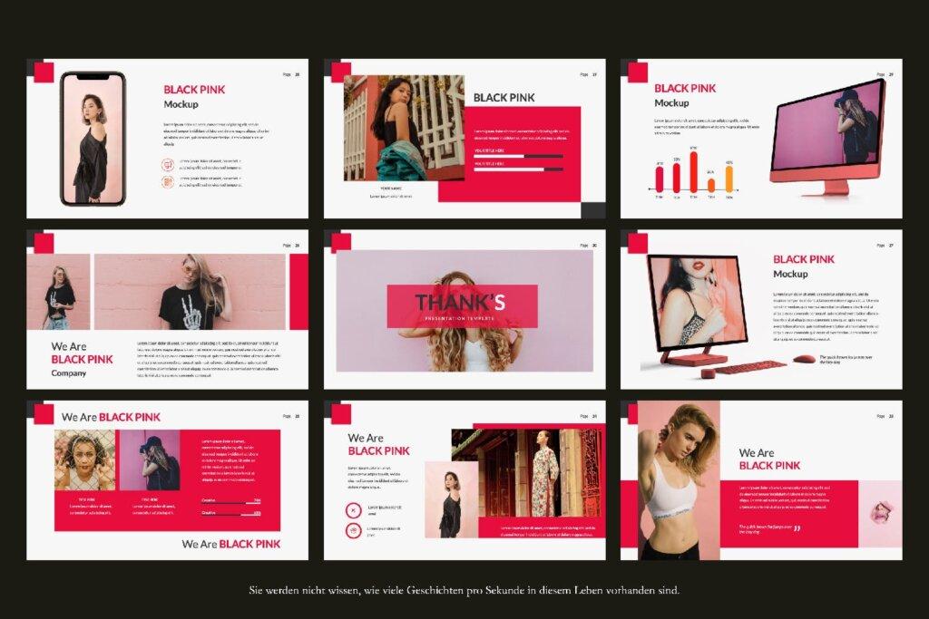 时尚服装品牌企业品牌宣传幻灯片PPT模版下载Black Pink Creative Google Slide插图(2)