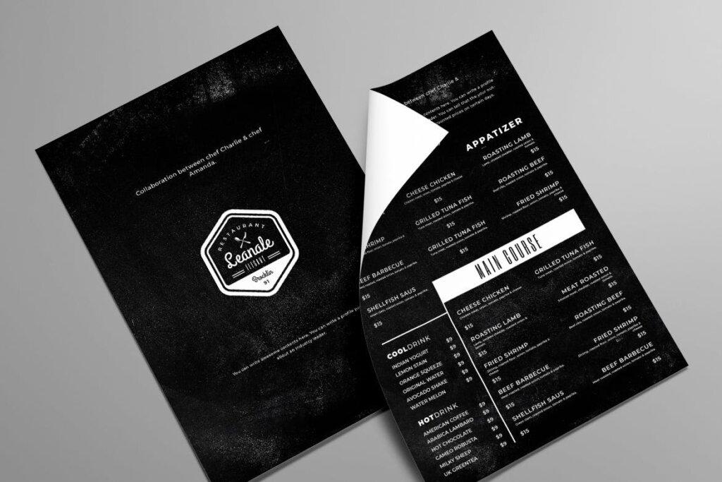 Minimal Single Page A4 US Letter Menu Bundle插图(2)