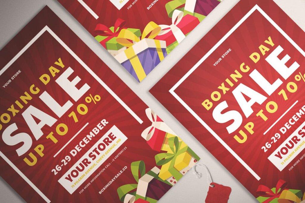 年中活动大促海报促销活动模版素材下载Boxing Day Sale Flyer Vol. 01插图(2)