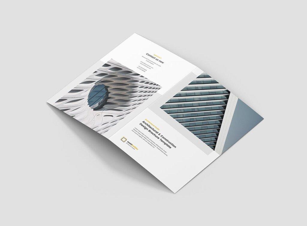 建筑工作室投资组合三折页模板素材下载Brochure Architect Bi Fold插图(2)