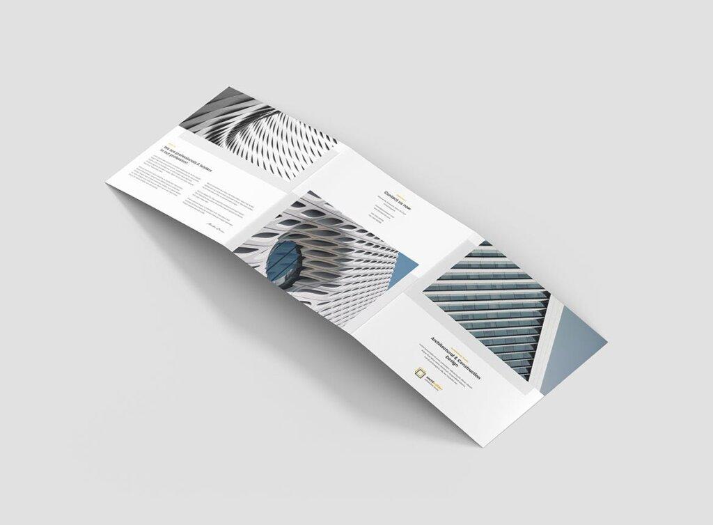 工业建筑设计工作室产品宣传折页模版素材下载Brochure Architect Tri Fold Square插图(2)