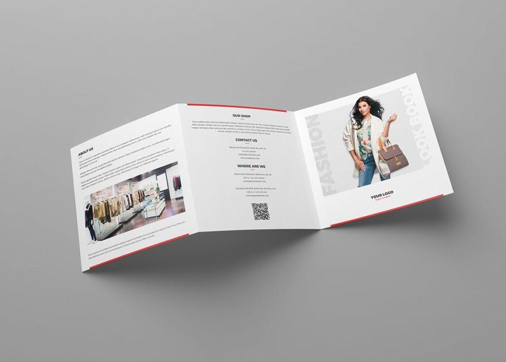 服装大促销宣传折页模版素材下载Brochure Fashion Look Book Tri Fold Square插图(2)
