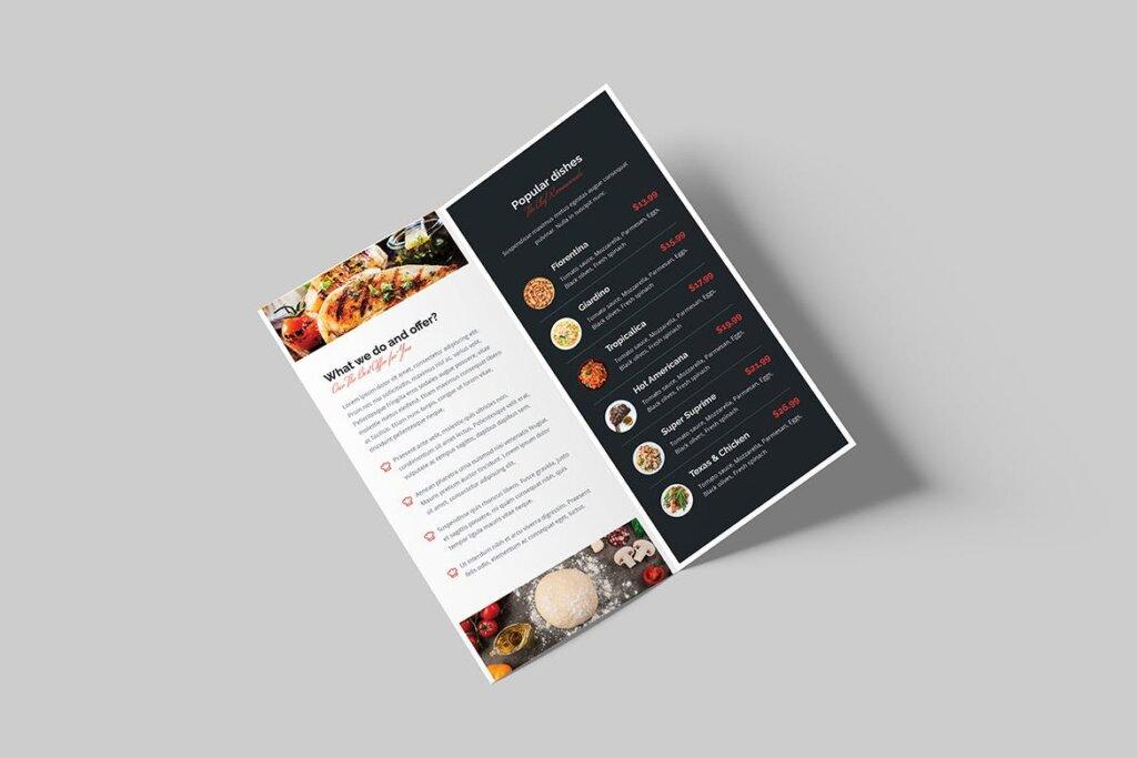 酒馆餐饮店两折页传单模版素材下载Brochure Restaurant Bi Fold DL插图(2)