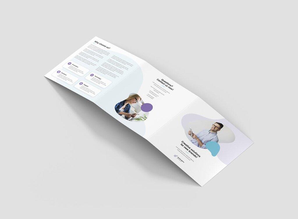 创意工作室三折页企业品牌宣传产品介绍模版素材下载Brochure StartUp Agency Tri Fold Square插图(2)