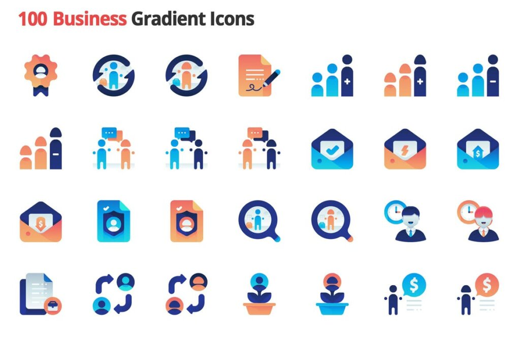 100个图标素材组织管理图标源文件素材下载Business Employment Vector Gradient Icons插图(2)