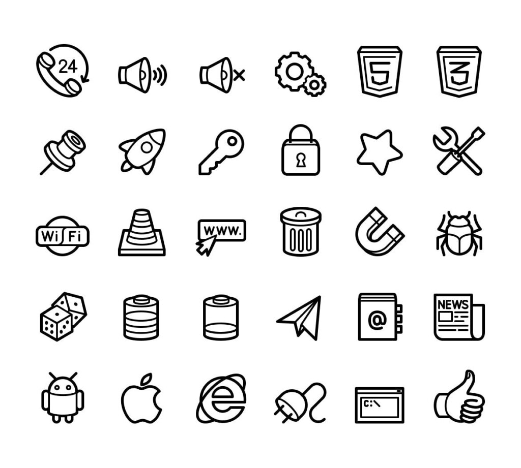 电脑桌面系统图标线性源文件图标下载Capitalist Icons Web Essentials插图(2)