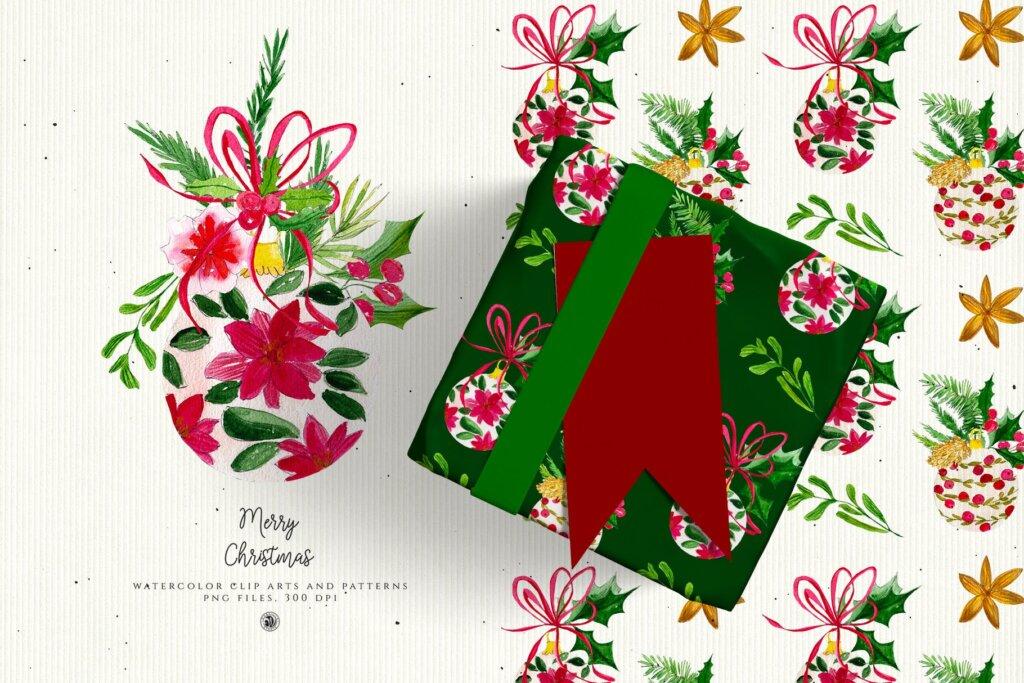 圣诞节水彩装饰元素/圣诞树图案素材Christmas Decorations 2F4YD65插图(2)