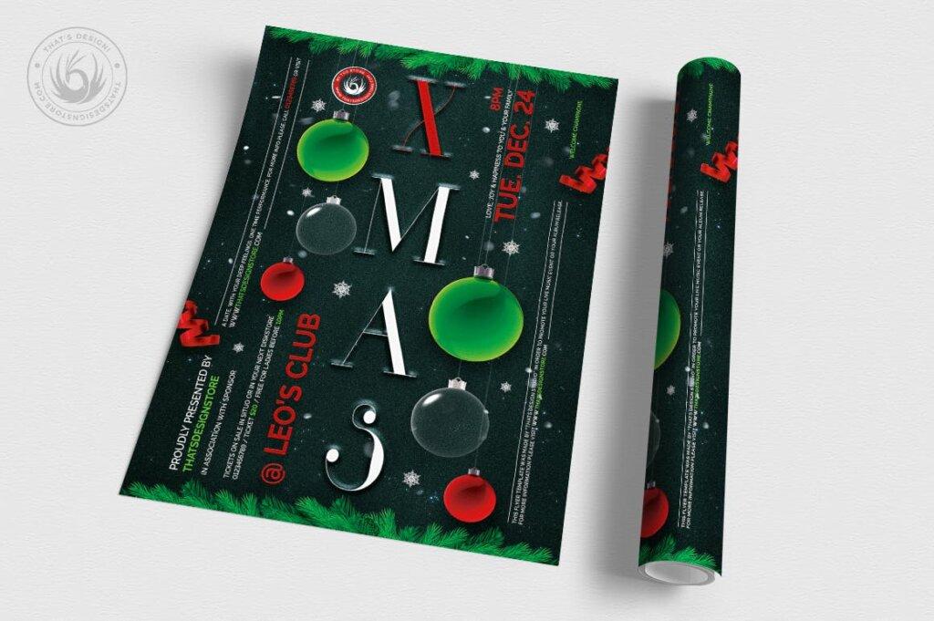 精致文艺平安夜/圣诞节传单海报模板Christmas Eve Flyer Template V13插图(2)