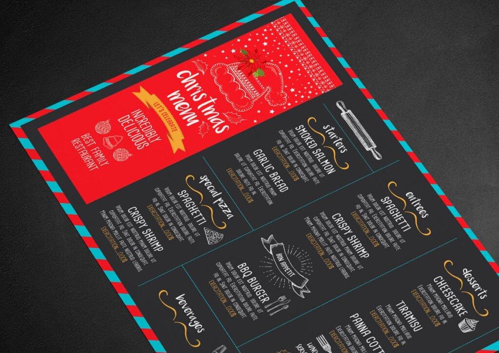 餐饮品牌黑色设计风格圣诞菜单餐厅海报传单模板Christmas Menu Restaurant Template T8GYVA插图(2)