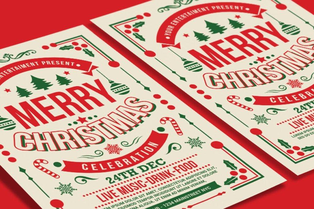 圣诞节线性装饰背景海报传单模板下载Christmas Party Celebration BG5XADJ插图(2)