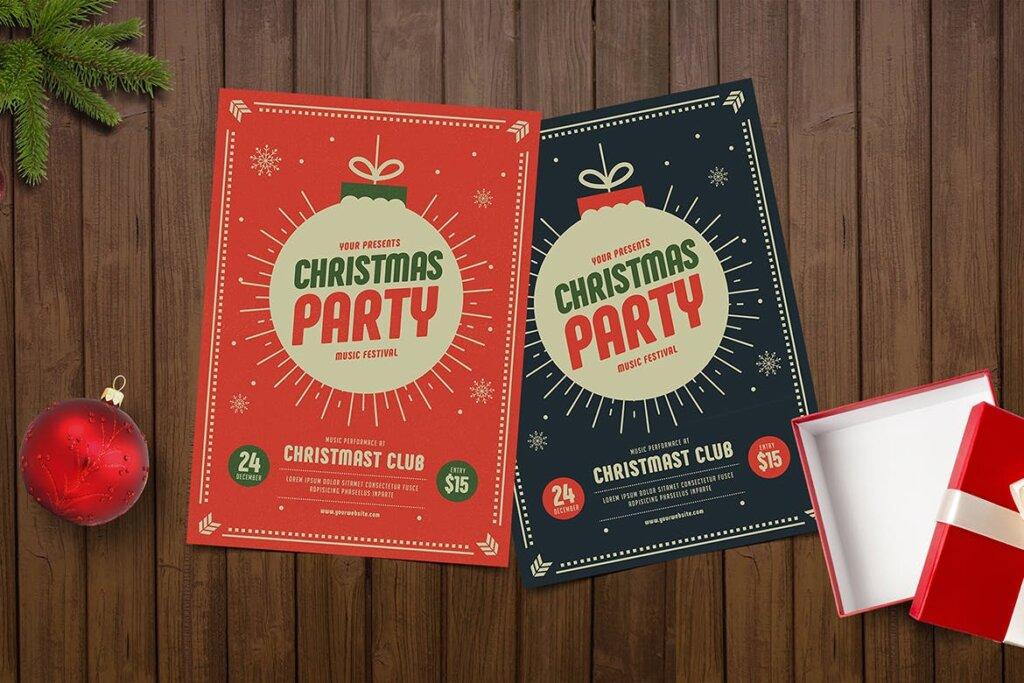 圣诞节海报宣传单素材模板Christmas Party Flyer KY4WS2插图(2)