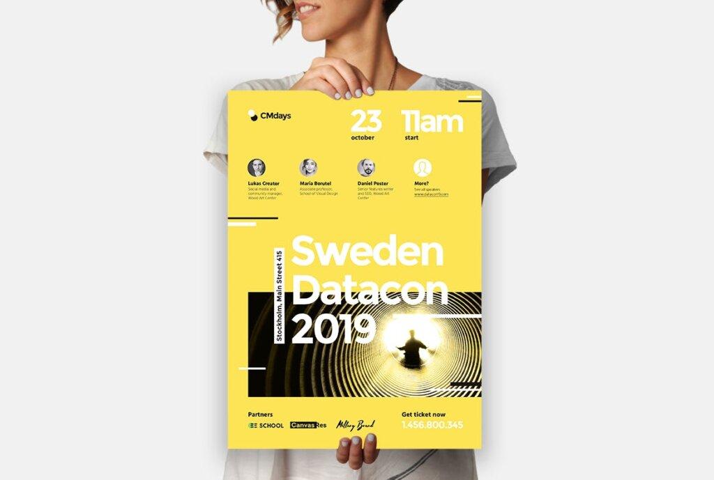 国际大型讲座会议海报传单模板素材下载Conference Poster 1插图(1)