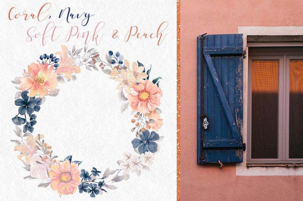 婚礼装饰图案花纹背景图案下载Coral Garden Watercolor Clip Art Collection插图(2)