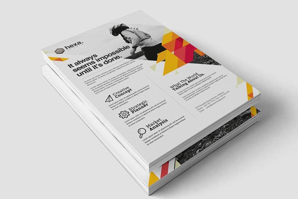 公司商务宣传/产品介绍模板素材下载Creative Corporate Flyer插图(2)