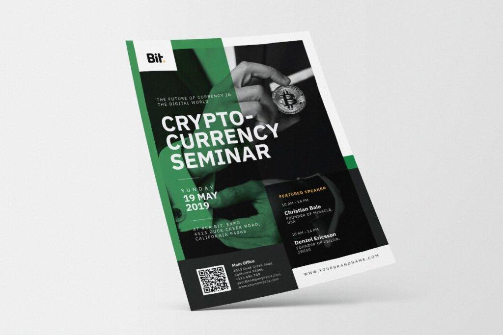 数字加密货币研讨会AI和PSD传单海报模板素材下载Crypto Currency Seminar AI and PSD Flyer Vol 1插图(2)
