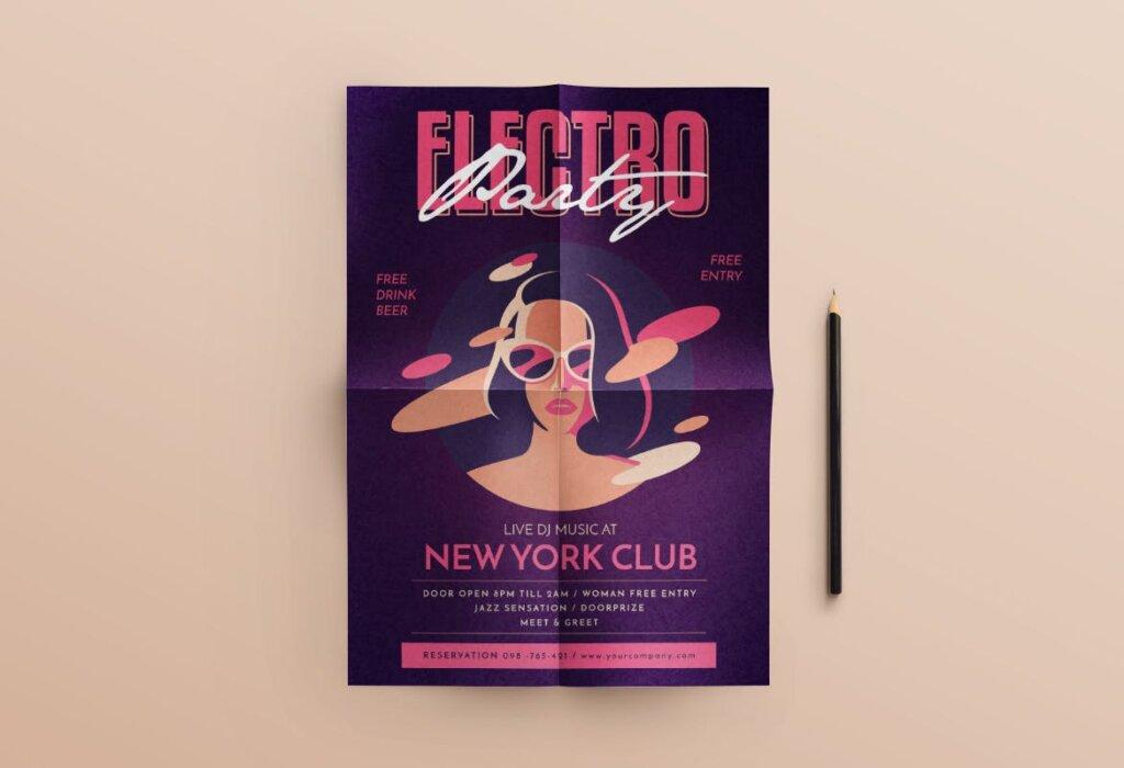 场景式电子音乐派对传单海报Electro Party Flyer JXHDF8插图(2)
