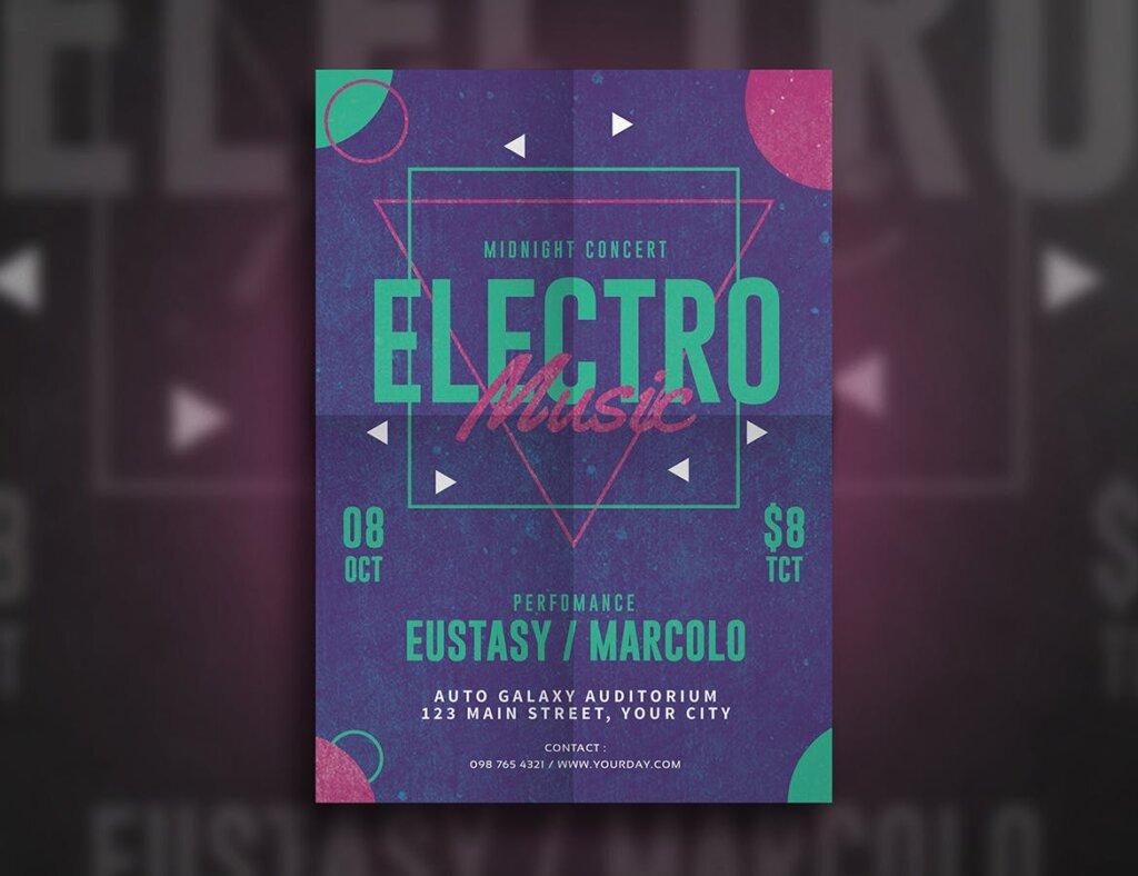 精致文艺电子音乐节日传单海报模板素材下载Electro Party Flyer MSDWUS插图(2)