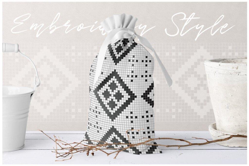 20个刺绣风格矢量图案素材纹理素材Embroidery Style Vector Patterns插图(1)