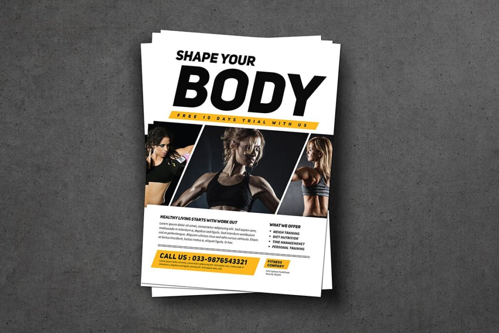 健身房和运动俱乐部宣传单海报模版素材下载KTZSLJ插图(2)