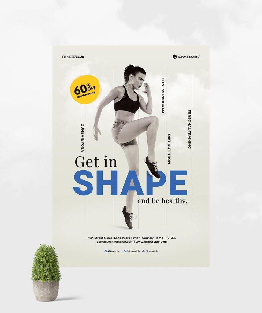 高质量的健身/瑜伽健身运动海报传单模板Fitness Gym Flyer Template插图(2)